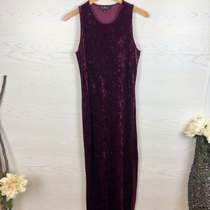 Lulu's Burgundy Crushed Velvet Maxi Dress